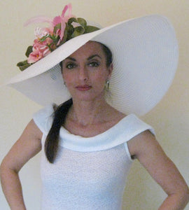 Large White Derby Hat with Pink and Green Accents