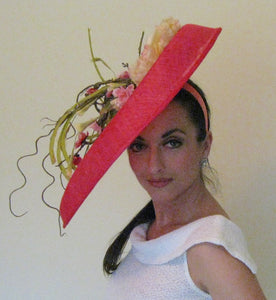 Large Pink Fascinator with Pink and Ivory Accents Derby Hat