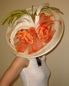 Large Ivory Fascinator with Orange Accents Derby Hat