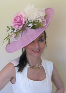 Lavender Rose Large Fascinator Derby Hat