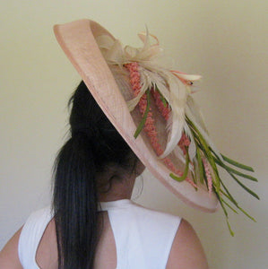 Large Peach Tiger Lily Fascinator Derby Hat