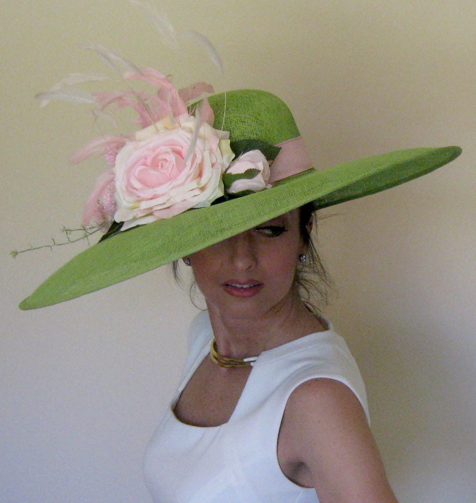 Large Lime Green and Pink Derby Hat