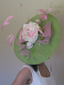 Green and Pink Rose Large Fascinator Derby Hat