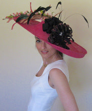 Large Pink and Black Fascinator Derby Hat