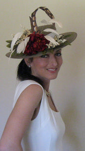 Neutral Derby Hat with Deep Red and Ivory Accents