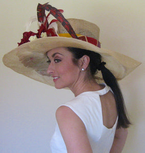 Large Ivory Derby Hat with Deep Red and Ivory Accents