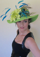 Lime Green Derby Hat with Turquoise Accents