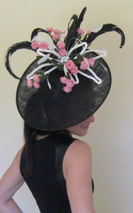 Black White and Pink Large Fascinator Derby Hat