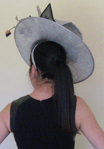 Metallic Silver and Black Large Fascinator Derby Hat