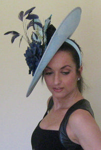 Aqua and Navy Large Fascinator Derby Hat