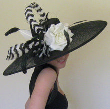 Large Black and White Derby Hat