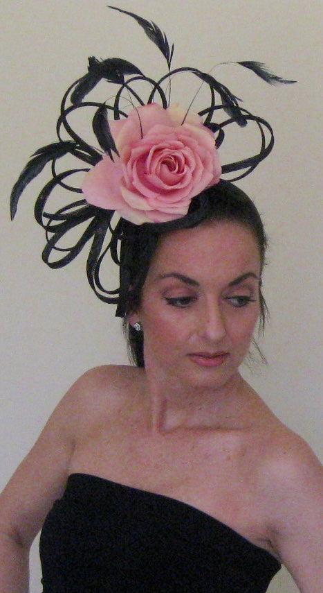 Black and Pink Rose Large Fascinator Derby Hat