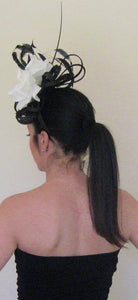 Black and White Rose Large Fascinator Derby Hat