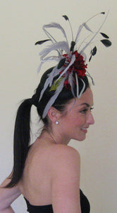 Black and Silver and Red Large Fascinator Derby Hat
