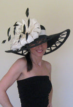 Large Black Dragon Fly Derby Hat with White Accents
