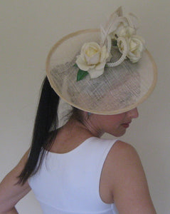 Elegant Ivory Roses Fascinator Derby Hat