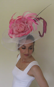 Large Pink & White Fascinator with Pink Variegated Rose Derby Hat
