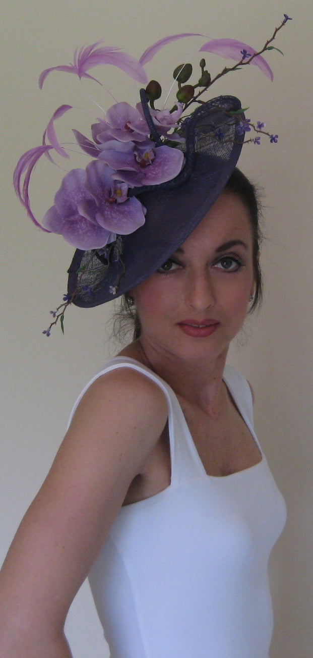 Purple and Lavender Fascinator Derby Hat