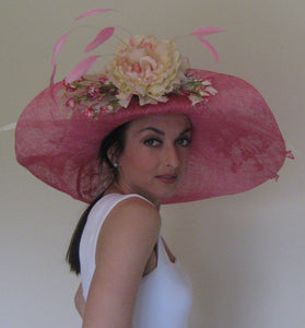 Large Pink Derby Hat with Turned Up Brim