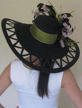 Large Black Derby Hat with Black & Lavender Accents