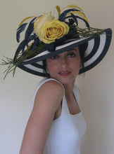 Navy and White Stripe Derby Hat with Yellow Flowers