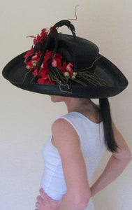 Large Black Derby Hat with Red and Accents