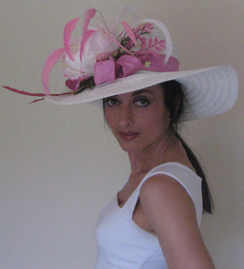 White and Pink Derby Hat
