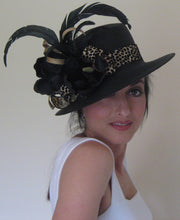Black Animal Print Derby Hat