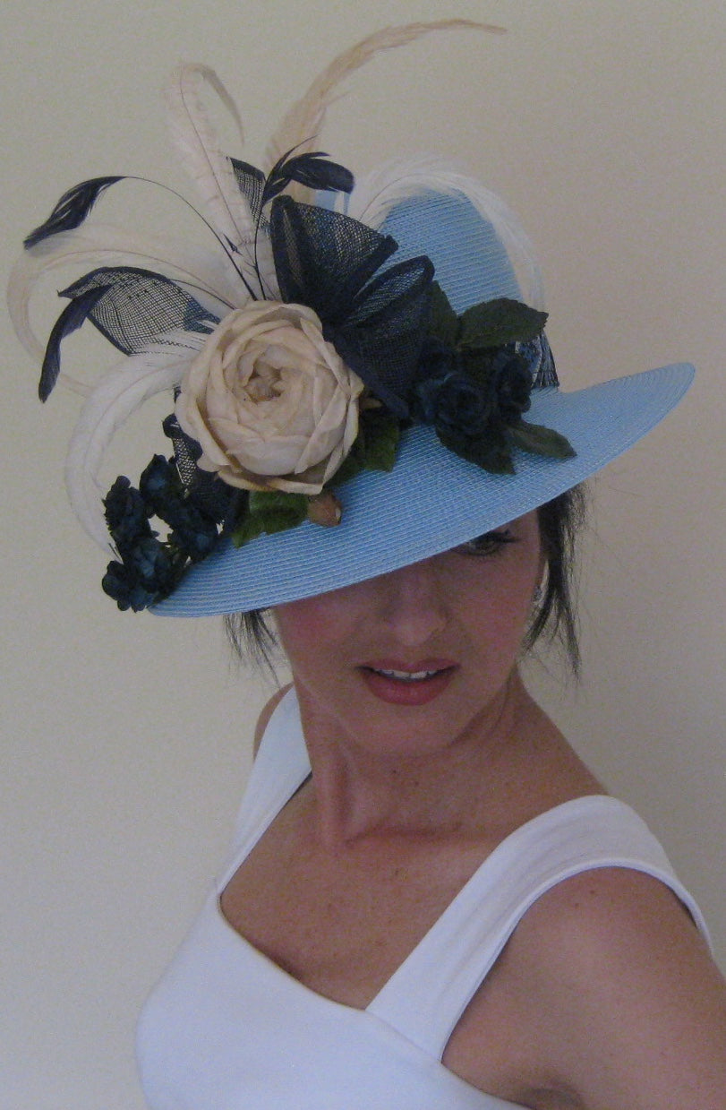 Light Blue, Navy and Ivory Derby Hat