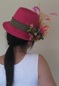 Hot Pink and Peach Derby Hat