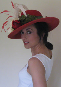 Red and Ivory Derby Hat