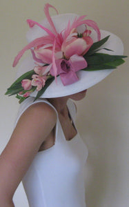 White and Pink Tulips Derby Hat