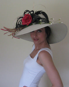 Large Ivory Derby Hat with Black Red and Ivory Accents