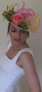Yellow and Melon Fascinator Derby Hat