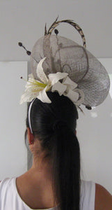 Khaki and White Lily Fascinator Derby Hat