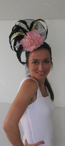 Black and Pink Quill Fascinator Derby Hat