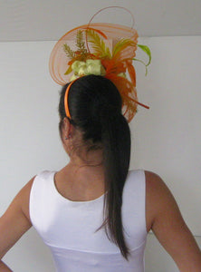 Orange and Lime Green Fascinator Derby Hat