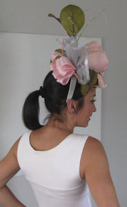 Pink Magnolia and Silver Fascinator Derby Hat