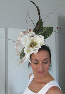 White Magnolia and Lily Fascinator Derby Hat