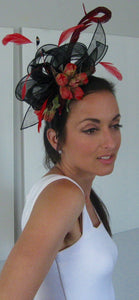 Black and Red Bow Fascinator Derby Hat Fascinator