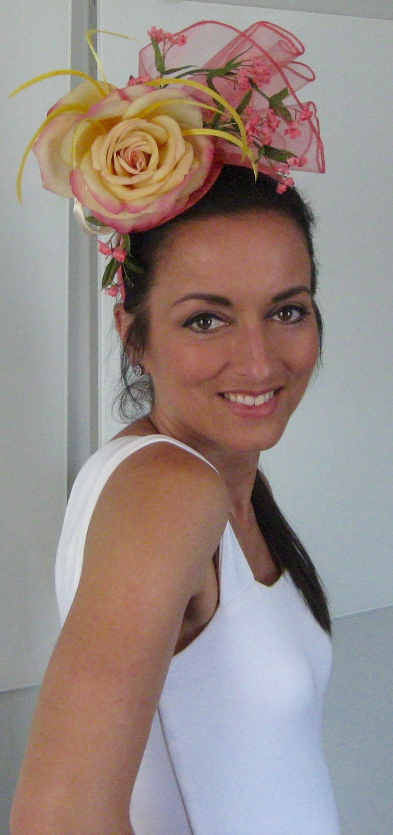 Coral and Butter Cream Fascinator Derby Hat Fascinator