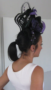 Black and Purple Big and Bold Fascinator Derby Hat Fascinator