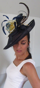 Navy and Ivory Throwback Fascinator Derby Hat Fascinator