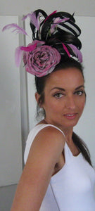 Black and Lavender Rose Fascinator Derby Hat
