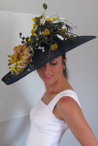 Large Navy Fascinator with Yellow and White Accents Derby Hat