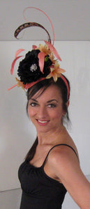 Salmon and Black Derby Hat Fascinator