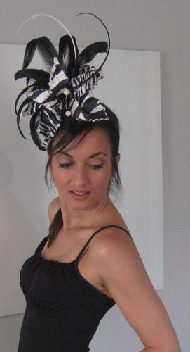 Black and White Zebra Animal Print Derby Hat Fascinator