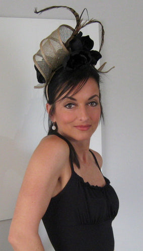 Gold and Black Derby Hat Fascinator