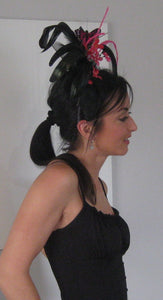 Black and Fuchsia Butterfly Fascinator Derby Hat