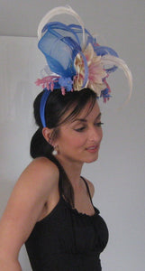 Periwinkle Blue Pink and Ivory Fascinator Derby Hat